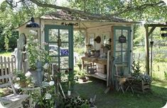 Backyard awesomeness! Upcycled French doors, Garden Shed, Shabby Chic Work Shop