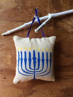 Menorah Hanukkah Pillow / holiday by BEtimeless on Etsy, $5.00