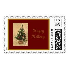 Happy Holidays Custom United States Postage Stamps Designed by Love Shack