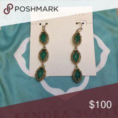 Kendra Scott - Rena earrings Rena earrings in green with gold! Kendra Scott Jewelry Earrings