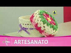Artesanato - Cesta Coração em Crochê Endurecido - Bem Fácil de Fazer - YouTube