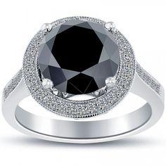 4.88 Carat Certified Black Diamond Engagement Ring Pave Halo 14k White Gold