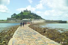 Michael's Mount near Penzance, England.(the most amazing thing is that this ancient stone path literally 'surfaces' with the tides from Noon - for visitors to go across and tour castle. Free Use Images, St Micheal, St Michael's Mount, Michael Church, Stone Path, Local Attractions, Medieval Castle, Landscape Pictures, Travel Pictures
