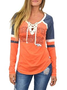 Lace up in the hottest style of the season in this Denver Broncos womens long sleeved top.