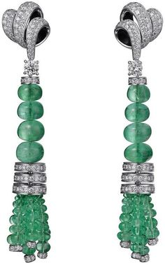 Cartier Fine Jewellery Earrings: Platinum, emerald, brilliant-cut diamonds