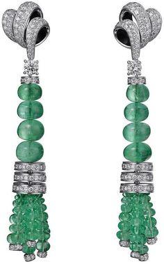 Cartier Fine Jewellery Earrings: Platinum, emerald, brilliant-cut diamonds