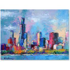 Richard Wallich 'Chicago 5' Canvas Art ($96) ❤ liked on Polyvore featuring home, home decor, wall art, horizontal wall art, skyline wall art, chicago skyline painting, canvas drawing and trademark fine art