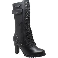 """Ride Tecs 13"""" Side Pocket Biker Women's Black Boot 8 M ($120) ❤ liked on Polyvore featuring shoes, boots, black, high heel biker boots, moto boots, high heeled footwear, black biker boots and motorcycle boots"""