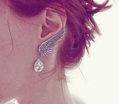 Crystal Bridal Earrings Clear Swarovski Drop Clip On SILVER Wing Earrings
