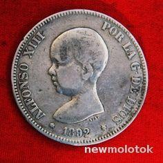 Приятная  Испания 5 песет 1892 Альфонсо Младенец  СЕРЕБРО   в коллекцию  с Рубля аукцион   Newmolot.ru - торговая площадка