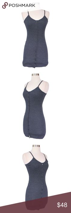 Grey Button Down Ribbed Cami Bodycon Dress * Slip Bodycon Dress * Button Down * Spaghetti Straps * Ribbed * Cotton Blend  STYLING TIPS: * Undergarments: May be worn with a t-shirt bra, adhesive bra, petals, or no bra. * Jewelry: Pair this dress with your favorite beaded bracelets. Lots of them! or just a statement earrings. * Shoes: Wear this dress with gladiator sandals for a goddess look. MBM Unlimited Dresses Mini