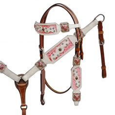 White hair-on cowhide headstall and breast collar with pink alligator print inlay-White hair-on cowhide headstall and breast collar with pink alligator print inlay