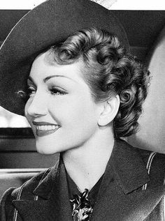 """CLAUDETTE COLBERT (1903 ~ 1996)  Colbert was considered one of the top stars of the 30s and was very versatile as an actress - adept at drama and comedy alike. She won the Best Actress Academy Award for her performance in the screwball comedy """"It Happened One Night"""" (1934). In 1938 and 1942 she was the highest paid actress..."""