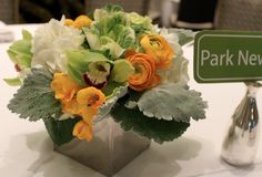 yellow, green and white centerpiece