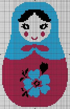 Cross Stitch For Kids, Cross Stitch Love, Beaded Cross Stitch, Cross Stitch Designs, Cross Stitch Embroidery, Cross Stitch Patterns, Broderie Simple, Stitch Doll, Matryoshka Doll