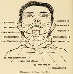 Straight razor face shave diagram from 1866 The Barbers Manual by A. Moler - Straight razor face shave diagram from 1866 The Barbers Manual by A. Moler This is a page extra - Straight Razor Shaving, Shaving Razor, Wet Shaving, Barber Straight Razor, Shaving & Grooming, Men's Grooming, Barber Shave, Shave Beard, Barber Gifts