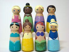 Pretty Princesses - Any 3  Pretty Princesses Wood Peg Doll Play Set