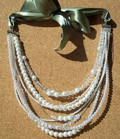 multi-strand glass pearl and clear crystal beads necklace