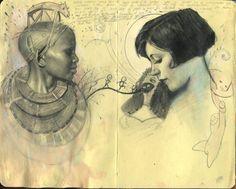 fuckyeahbookarts sketchbook pages sshtudies by ~rodrigoluff Artist Journal, Artist Sketchbook, Art Sketches, Art Drawings, Drawing Faces, Sketchbook Inspiration, Art Graphique, Pretty Art, Moleskine