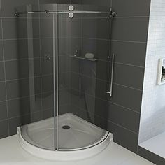 Clear Glass Shower Enclosure with Base - Basically, the Vigo x in. Clear Glass Shower Enclosure with Base is a perfect way to reimagine your bathroom. This shower enclosure. Vigo Shower Doors, Frameless Sliding Shower Doors, Frameless Shower Enclosures, Glass Shower Doors, Tile Ready Shower Pan, Corner Shower Kits, Shower Base, Modern Shower, Clear Glass