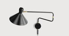 Ogilvy Swing Arm Wall Lamp, Matt Black and Antique Brass