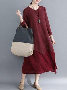 6b6051faeba8 #falloutfits #AdoreWe #PopJulia - #PopJulia Women Daily Casual Long Sleeve  Paneled Solid Plus Size Dress - AdoreWe.com