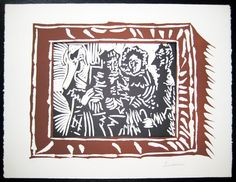 Portrait de Famille Ingresque, 1962 Linocut printed in two colors on Arches paper, signed in pencil