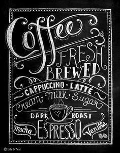 Coffee fresh brewed chalkboard menu .·:*¨¨*:·.Coffee ♥ Craft.·:*¨¨*:·.