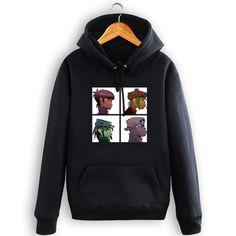 High quality Gorillaz Hoodies Rock Roll Band sweatshirt Free shipping Size S-3XL