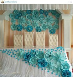 Paper flowers wedding #bluewedding #bluepaperflowers
