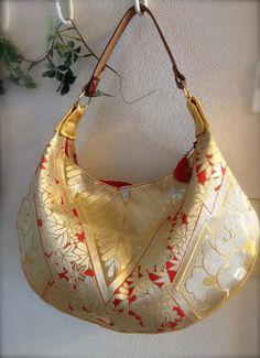 Obi Kimono Bag / GD446 Gorgeous Gold Obi Crescent by RummyHandmade, $70.00