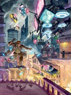 Cyberpunk Boy and Dog by DanielGovar.★ We recommend Gift Shop: http://gosstudio.com ★ #Cyberpunk #Art #gosstudio