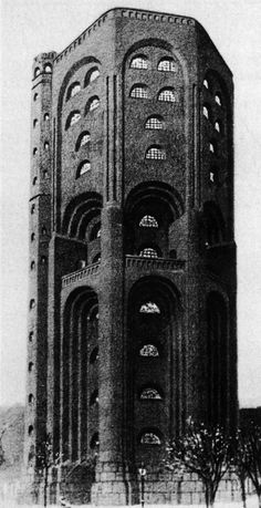 holy-suburban-quest: black brick fired three times Hans Poelzig - Water Tower for Hamburg - 1910 Gothic Architecture, Amazing Architecture, Interior Architecture, Hans Poelzig, Hamburg Germany, Tours, Brick And Stone, Built Environment, Arquitetura