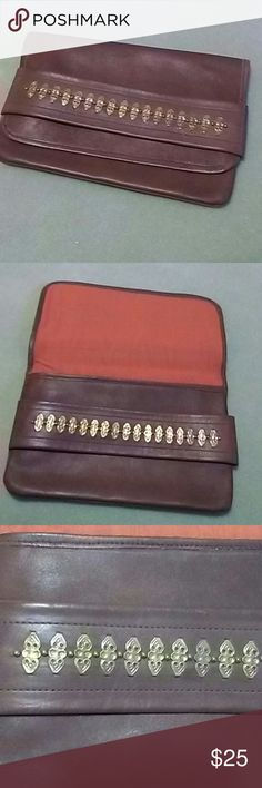 Vintage 50's Clutch Brown Leather Clutch in excellent condition with gold looking aged detail studs. none  Bags Clutches & Wristlets