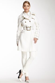 Runway New York Double Breasted Button Wool Blend Trench Coat