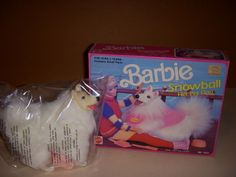 Vintage 1990 Mattel, Snowball, Barbie Doll's Pet Dog, #7272, NIB, Mint Dog!