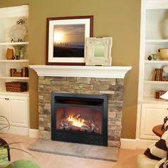 stone surrounding gas fireplace