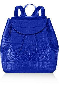 Cobalt crocodile Top handle, adjustable shoulder straps Internal zipped and patch pockets Fully lined in anthracite suede (Pig) Drawstring top, concealed magnetic fastening at front flap Crocodile: Colombia Red Carpet Fashion, Blue Fashion, Fashion Bags, Fashion Accessories, Womens Fashion, Azul Royal, Nancy Gonzalez, Celebrity Red Carpet, Blue Bags