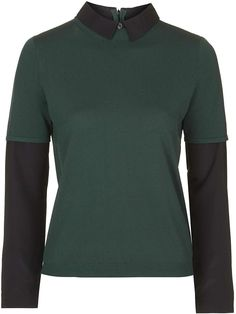 Womens bottle green collar hybrid jumper from Topshop - £42 at ClothingByColour.com