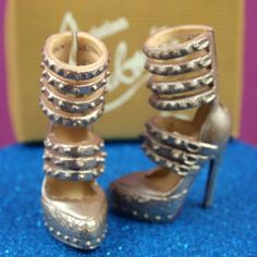 Barbie Christian Louboutin Silver Mega Buckle Heels - with BOX & BAG!
