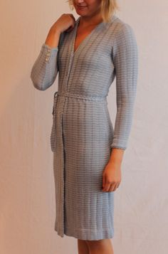 8059294a1fc Baby Blue Button Front 70 s Sweater Dress   Knit Dress   Vintage by  StubbornLoveVintage on Etsy