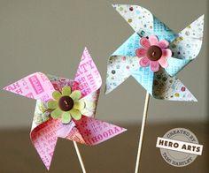 Paper Pinwheels DIY ... http://heroarts.com/stampcraft/stampcraft.cfm?craftID=157#
