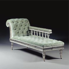 A Victorian cut crystal glass and button-upholstered chaise longue late 19th century, attributed to F & C Osler SOLD. 17,300 GBP