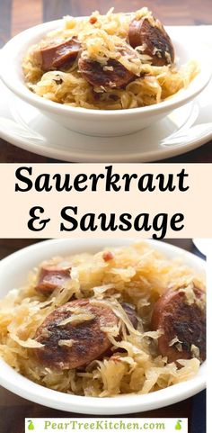 Sausage and Sauerkraut Recipe can be made on the stovetop or in a slow cooker. Browned polish sausage is simmered in sauerkraut with a touch of sweetness from apple slices. Easy one-pot recipe for kielbasa and sauerkraut. Smoked Sausage And Sauerkraut Recipe, Keilbasa And Sauerkraut, Saurkraut And Sausage, German Sauerkraut Recipe, Bratwurst Sausage, Smoked Sausage Recipes, Bratwurst Recipes, Sauerkraut Recipes, Polish Sausage Recipes