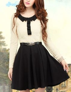 Princess-sleeved Belted Dress with Pleated Collar - Glitzx