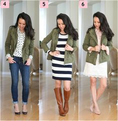 Military jacket w/ polka dot button down and rolled up skinnies w/ bright flats/heels and matching necklace?