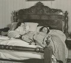 """Olivia and Vivien on set of Melanie's birthing bed from """"Gone With The Wind"""""""