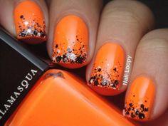 Orange with black glitter