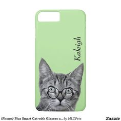 iPhone7 Plus Smart Cat with Glasses on Green.  Personalize with your own text.