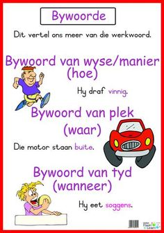 Bywoorde Available in Afrikaans only 1st Grade Math Worksheets, Preschool Worksheets, Preschool Learning, 2nd Grade Spelling Words, Afrikaans Language, Phonics Chart, Kids Poems, School Posters, Teaching Aids